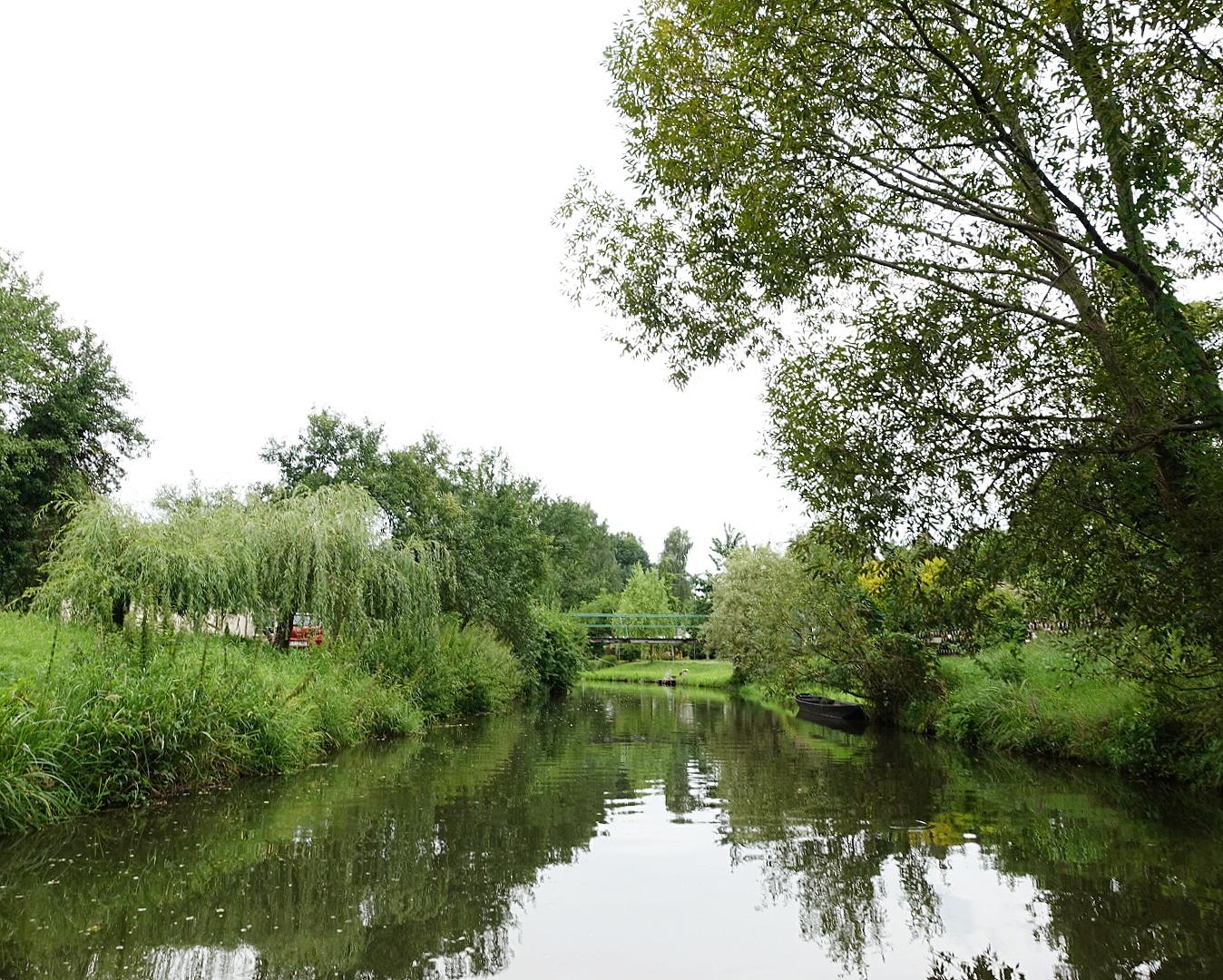 Kanal und Wiesen im Spreewald an einem verregneten Sommertag